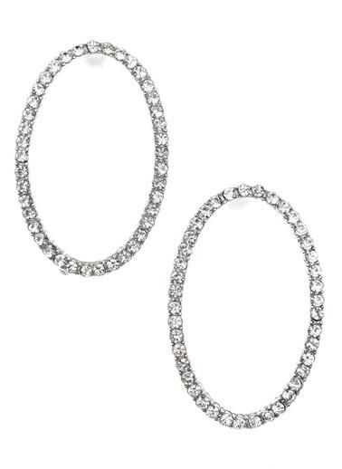 NGSTYLE Straz Taş Oval Küpe Gümüş